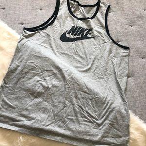 Nike logo grey & black tank top sz.L